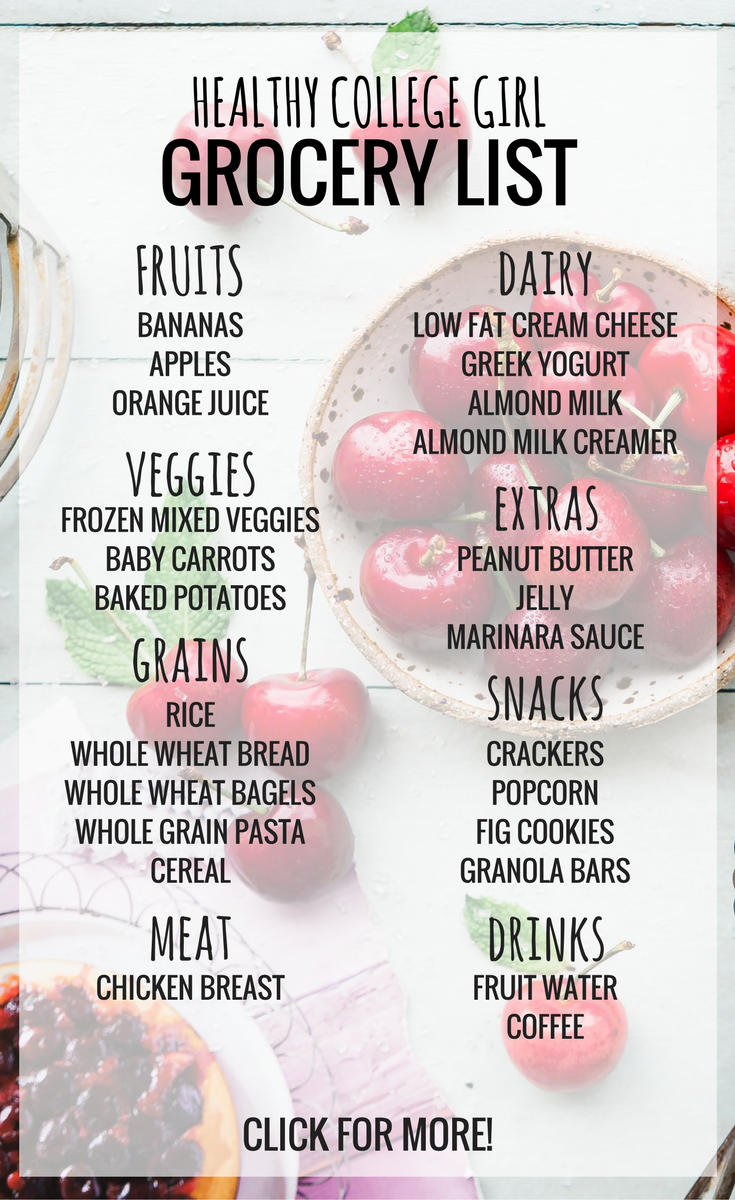 This healthy college shopping list is perfect for getting starting with healthy eating! Most of these don't require cooking, so they are perfect for a college dorm!
