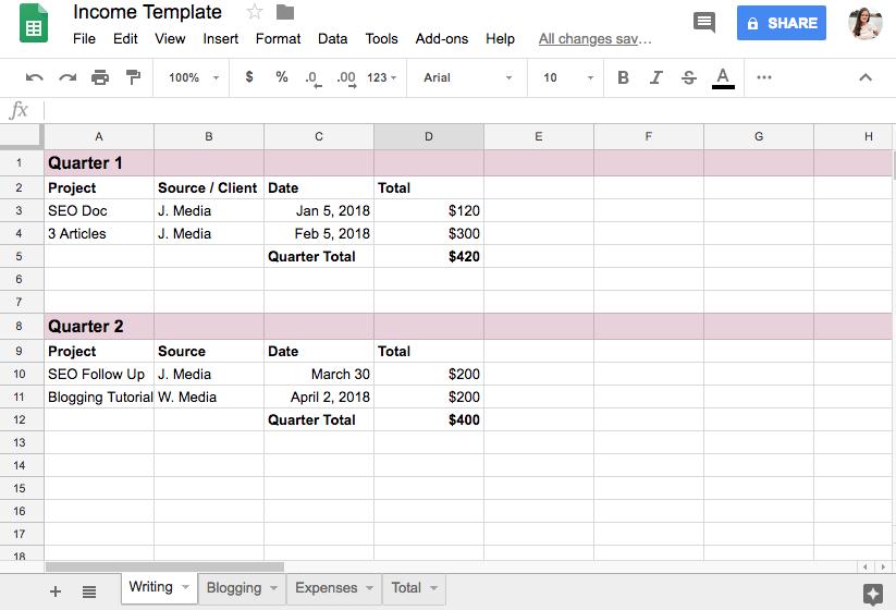 Freelancer tools like sheets