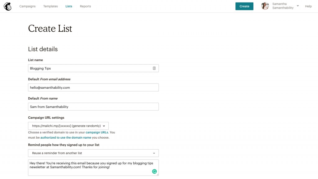 How to Make an email list for your blog mailchimp screenshot
