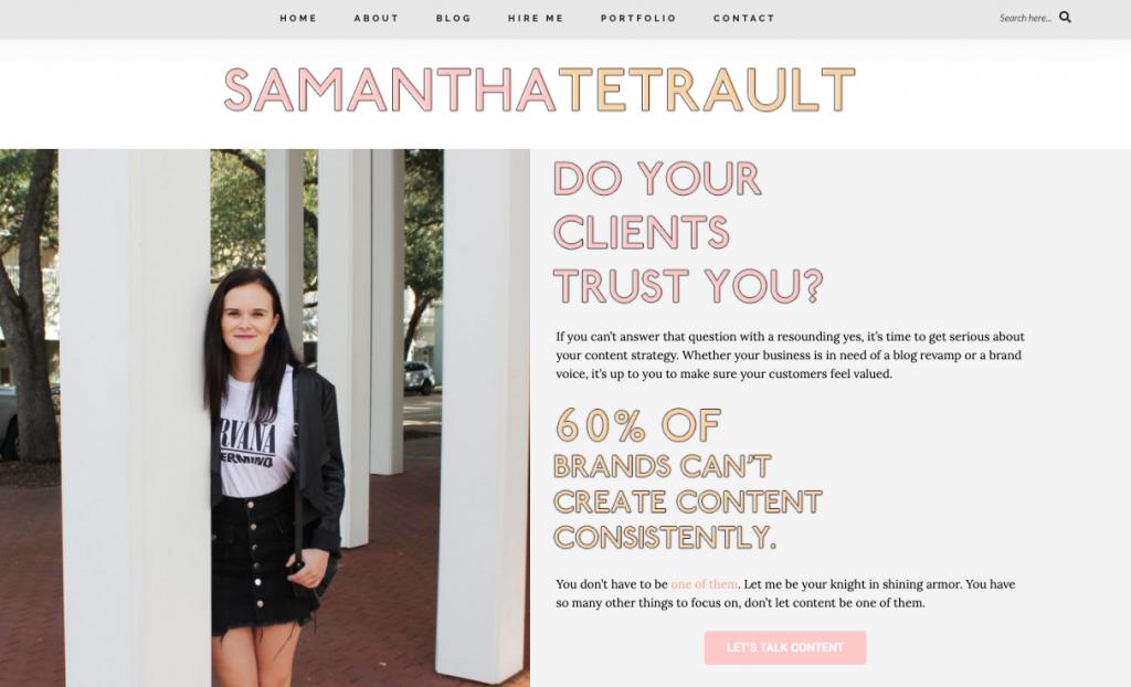 Freelance writer website screenshot